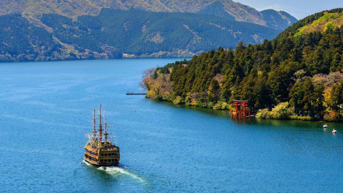 Lacul Ashinoko, Hakone, Japonia toamna