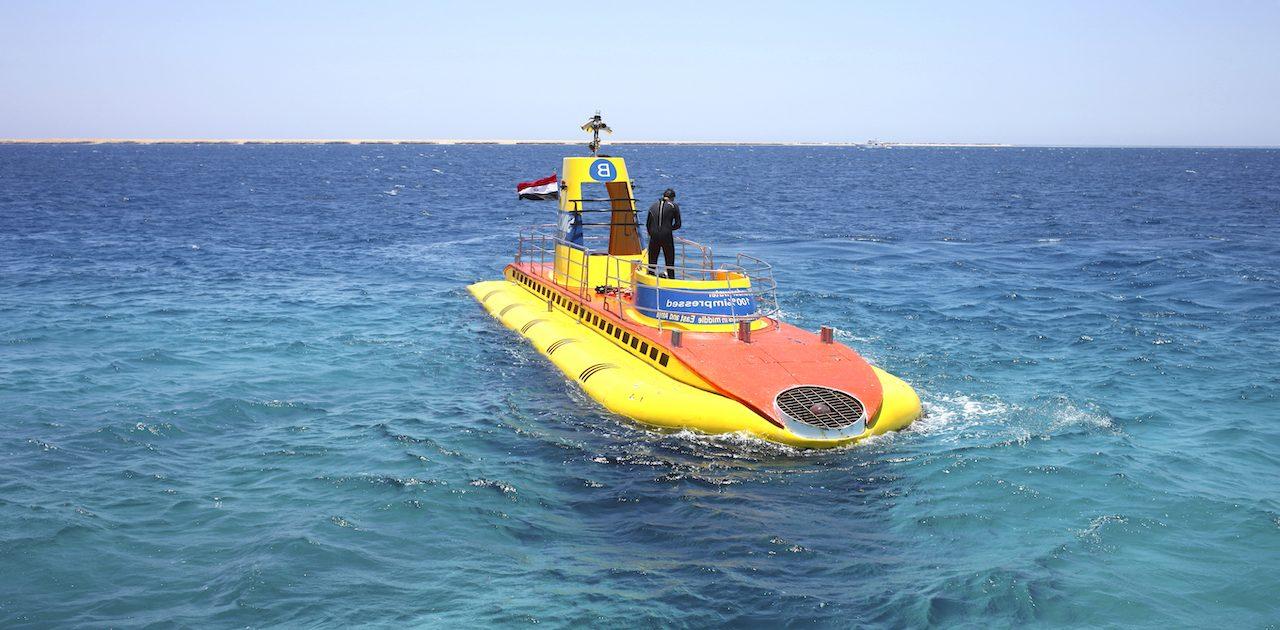 submarine in the Red Sea. Yellow Boat Sinbad. Hurghada Egipt Tur submarine excursia