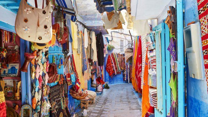 Street market in Chefchaouen Morocco blue buildings Marocco